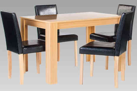 Aspire Furniture - Oak Effect Dining Table And 4 Chairs - Save 70%