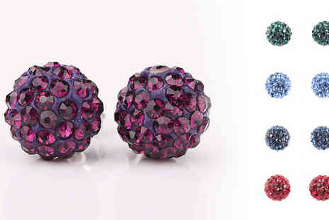 Avatora international - Two Pairs of Crystal Stud Earrings - Save 97%