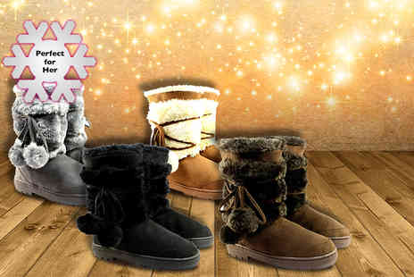 Shubox - Pair of faux fur lined Pom Pom snow boots - Save 48%