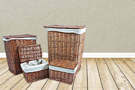 Kings Bathroom - Set of four matching wicker storage and laundry baskets - Save 48%