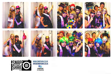 SnapShak - Three hour photobooth hire including unlimited photos, digital copies, prints an assistant and props - Save 62%