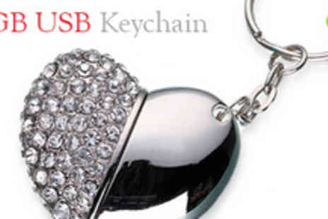 Gift Me Something Special - £20 for Two Jewel Encrusted 4GB USB Keyring - Save 64%