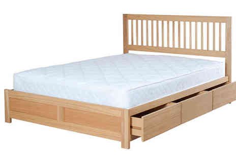 Furniture Wholesale Group - Double Wooden Storage Bed plus Optional Mattress - Save 25%