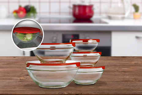 Cost Mad - Five stackable glass storage bowls with lids - Save 71%