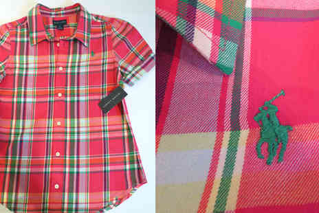Discount Network - Ralph Lauren Girls Cotton Madras Short Sleeve Shirt - Save 82%