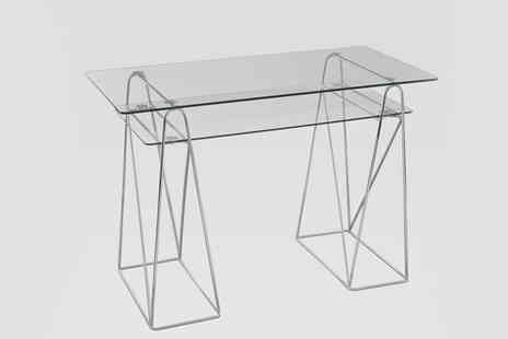 Aspire Furniture - Contemporary Clear Glass Office Desk with Chrome Base - Save 73%