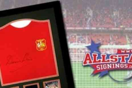 All Star Signings - Framed and Signed Denis Law Shirt With Certificate of Authenticity - Save 60%