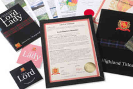 Highland Titles - Novelty Scottish Title of Laird, Lord or Lady with a Plot of Land - Save 50%
