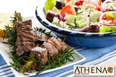 Athena Greek Taverna - Two Course Greek Meal For Two People With Wine for £18 - Save 60%