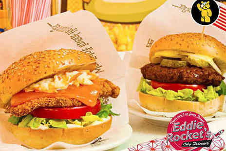 Eddie Rockets City Diner - Starter or Side, Main and Milkshake Each for Two - Save 58%