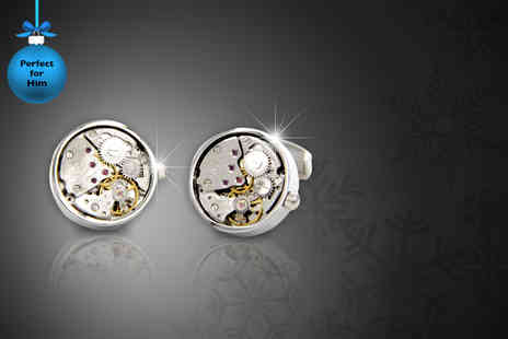 Cartres - Stainless steel watch movement style cufflinks - Save 80%