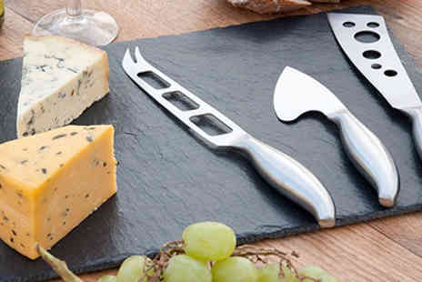 Homeware - Luxury Slate Cheese Board & 3 Knives - Save 81%