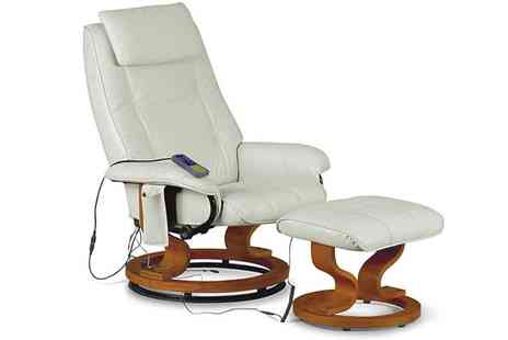 Einfeld - Reclining PU Leather Massage Chair plus Footstool - Save 54%
