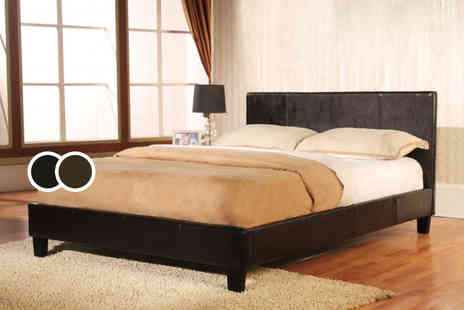 DIRECT FURNITURE SUPPLIERS - Single Haven faux leather bed - Save 55%