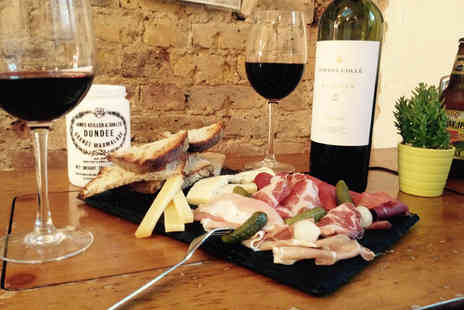 Chairs and Coffee - Charcuterie and cheese platter for two including a bottle of wine - Save 56%