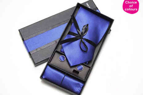 My Avarice - Choice of one Colour o Tie Cufflinks, and Handkerchief Gift Sets - Save 70%