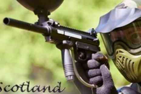 Skirmish Scotland - Paintballing Experience For Ten Plus Lunch, Equipment Hire and 100 Paintballs Each - Save 95%