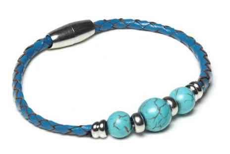 The Gem Seller - Three genuine leather magnetic bracelets with semi precious gem stones - Save 88%