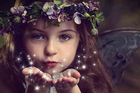 Mackney Photography - Fairy photoshoot for up to Two kids including photo mug, 2 keyrings & fairy wand to take home - Save 93%