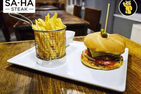 SA HA Steak - Any Gourmet Burger Served with Fries and a Side Dish or Salad for Two - Save 58%
