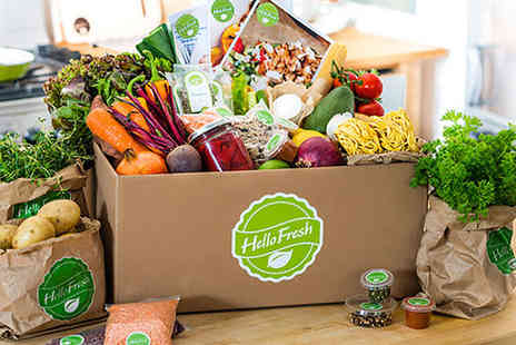 Hello Fresh - Meat or Vegetarian Hello Fresh Meal Box Subscription with Recipes and Ingredients for Three Meals for Two  or Family Box for Four Meals for Four - Save 59%