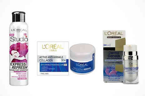 LOreal Serum - LOreal Skin and Haircare Set Including Serum, Moisturising Cream, and Dry Shampoo, Delivery Included - Save 53%