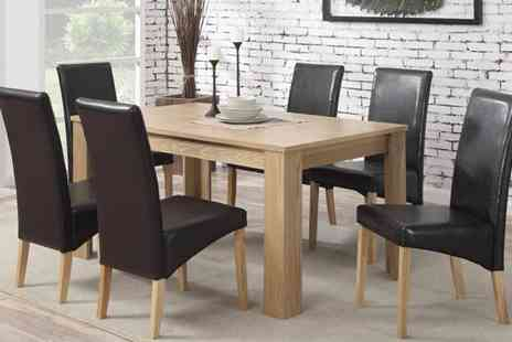 DUREST BEDS - Oak Dining Table with 6 Faux Leather Chairs - Save 39%