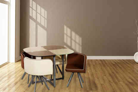 Sleep Solutions - Battenberg glass dining table and four chairs - Save 62%