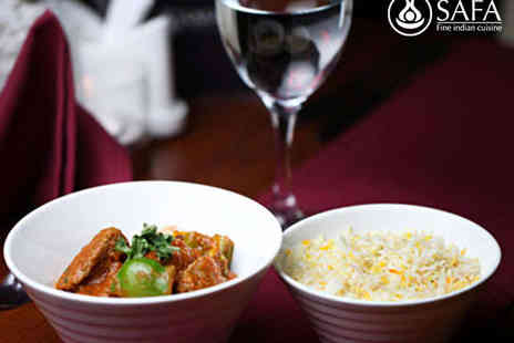 Safa Fine Indian Cuisine - Indian Meal with Wine for Two  - Save 51%