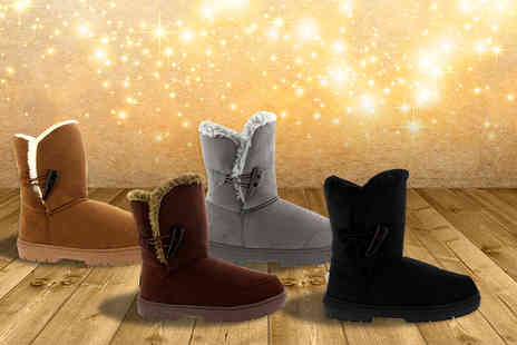 Shubox - Pair of toggle winter boots in a choice of colours - Save 42%