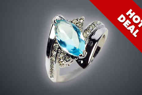 bag a bargain - 10K White Gold Filled Aquamarine Ring - Save 88%