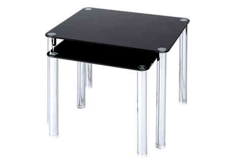Akhtar Investments - Two Black Glass with Chrome Legs Side Tables - Save 42%