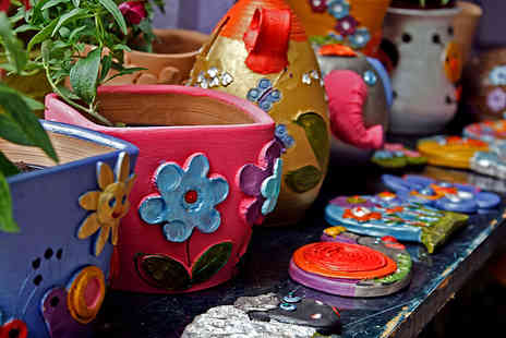 Arty Pots - 90 minute pottery painting class for two including tea and cake - Save 52%
