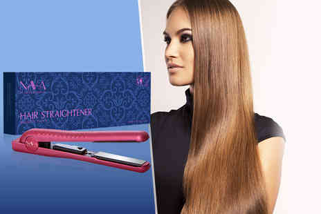 Nava - Pair of Nava hair straighteners in metallic pink - Save 60%