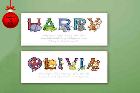 Frame My Name - Childrens personalised animal name print - Save 0%