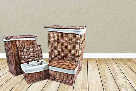 Kings Bathroom - Four matching wicker storage and laundry baskets in brown or white - Save 50%