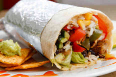 Burrito Cafe - Mouthwatering Mexican Burrito and Refillable Soft Drink for Two - Save 42%