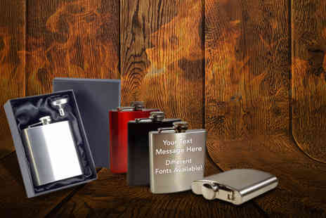Notts Laser - Personalised hip flask in a choice of Three colours - Save 50%