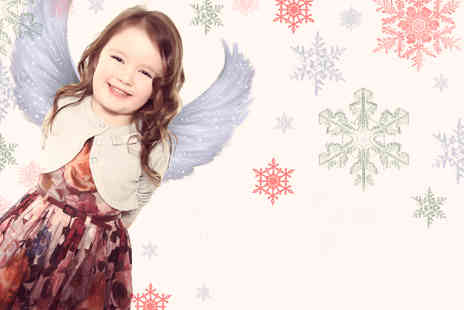 Wild Ginger Photography - Two hour Christmas angel photoshoot including mini makeover, one keyring, one 5x7 & two 6x4 prints - Save 91%