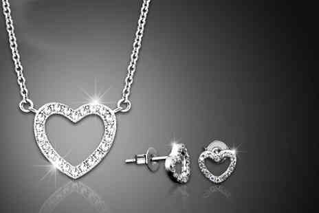 Jewel Unique - White Gold Plated Heart Jewellery Set  - Save 90%