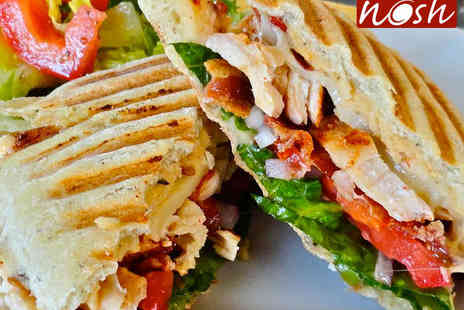 Nosh - Hot Panini or Cold Sandwich with Crisps and Cold Drink for Two  - Save 43%