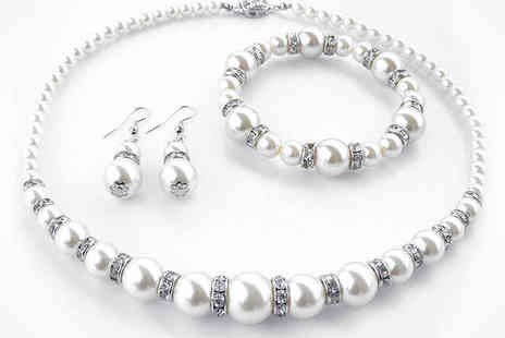 Pearl Jewellery Set - Three Piece Faux Pearl Jewellery Set Necklace, Bracelet, and Earrings, Delivery Included - Save 87%