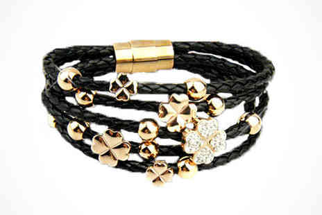 Guccinaras - Leather Bracelet in Black or White with Swarovski Elements, Delivery Included - Save 83%