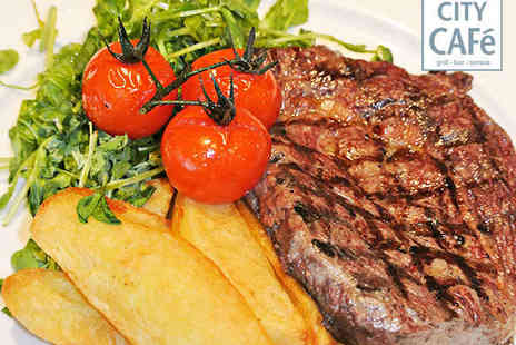 City Cafe Bar and Grill - Starter and Steak Main Course for Two - Save 51%