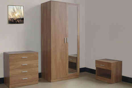 Einfeld  - Oak Mirrored Finish Three Piece Bedroom Set - Save 65%