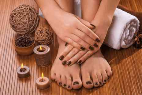Natural Spa - Manicure & pedicure with polish plus hot stone hand & forearm massage - Save 62%