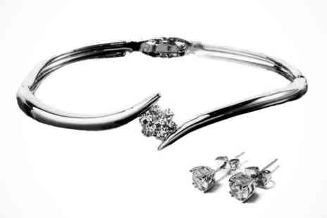 Bangle and Earring Set - Crystal Flower Bangle and Solitaire Earring Set, Delivery Included - Save 88%