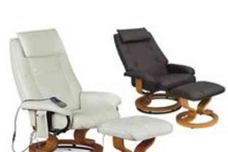 Heartlands Furniture - £124 for an Aston Reclining Massage Chair in black, brown or cream - Save 50%