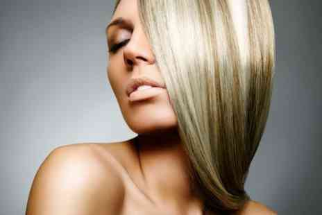Four Hair Design - Cut, Blow Dry and Highlights or Brazilian Keratin Treatment - Save 0%