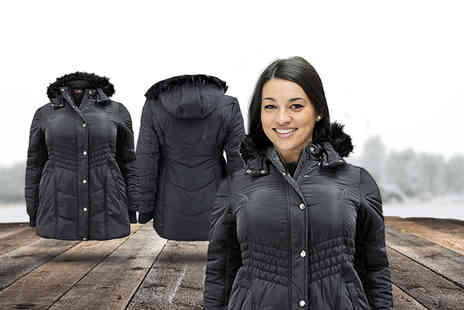 Lovedrobe - Clack padded or PU leather winter coat with faux fur trim hood - Save 73%